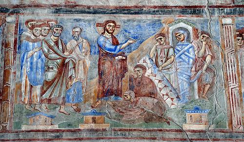 Lazzaro - affresco sec. XI, scuola bizantino campana, s.Angelo in Formis, Capua