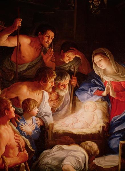 L'adorazione dei pastori in un dipinto di Guido Reni.