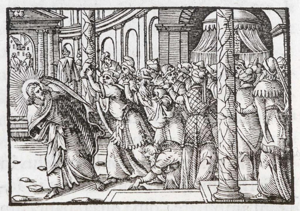 Ambito tedesco seconda metà sec. XVI, Gesù Cristo cacciato dalla sinagoga