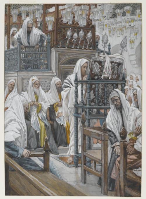 """James Tissot (1836, Nantes - 1902, Chenecey-Buillon), """"Gesù srotola la scrittura nella sinagoga"""", 1886-1894, Acquerello (della serie """"La Vita di nostro Signore Gesù Cristo""""), 26.8 x 19.2 cm, Brooklyn Museum, New York"""