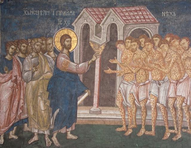 Christ heals 10 Lepers
