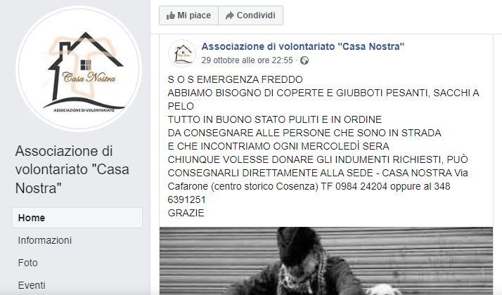 """Associazione di volontariato """"Casa Nostra"""" SOS Freddo"""