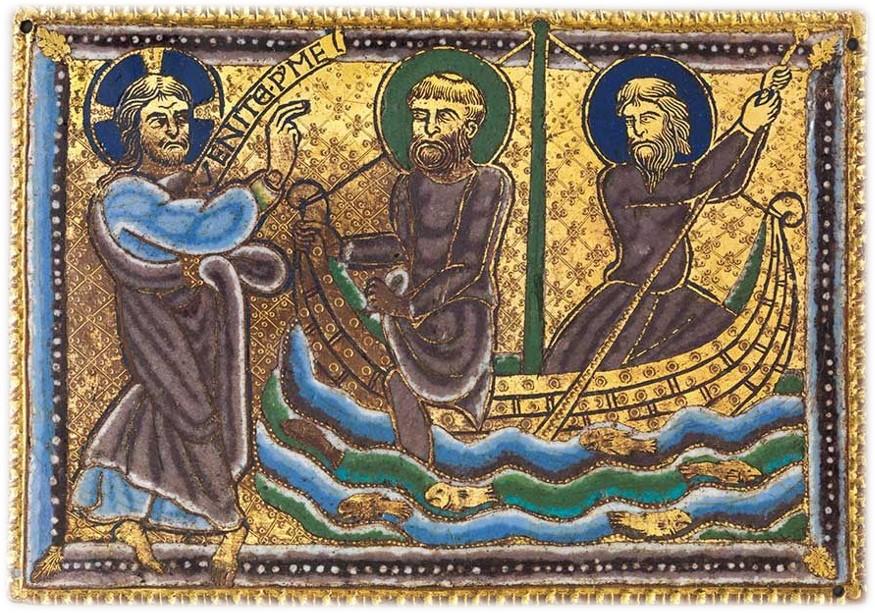 Chiamata di Pietro e Andrea, Champlevé su rame dorato, 1160–80 circa, Metropolitan Museum, New York