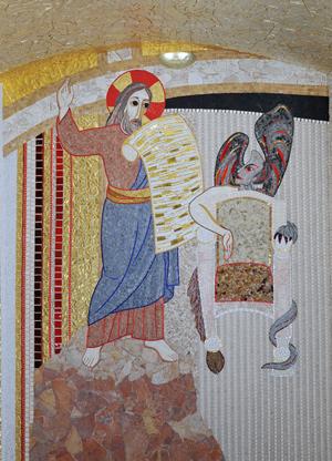 Il Signore si difende con lo scudo della Parola scegliendo liberamente la croce, la pasqua come via della salvezza