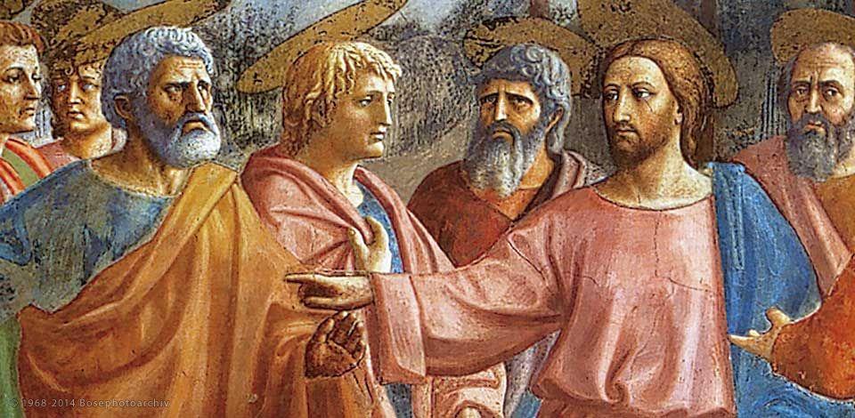 Masaccio, Il tributo (particolare), 1425 circa, affresco, 255×598 cm, cappella Brancacci in Santa Maria del Carmine, Firenze