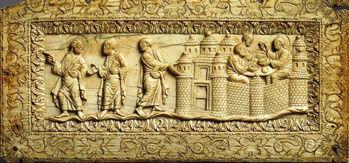 Placca con Discepoli di Emmaus, avorio, Francia, 850 ca, New York, Metropolitan Museum of Art