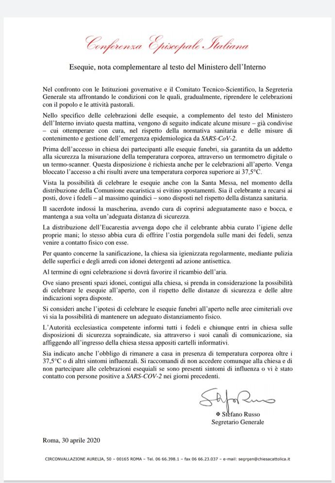 CEI - Esequie, nota complementare al testo del Ministero dell'Interno